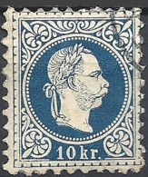 Austria, 1874 Effigie Di F. Giuseppe I, 10k Azz, Stampa Fine D.9½ #  Michel 38IA - Scott 37 - Unificato 35I USATO - 1850-1918 Impero