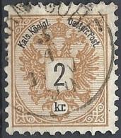 Austria, 1883 Aquila Con Cifra, 2k Bistro, D.9½ #  Michel 44 - Scott 41 - Unificato 40 USATO - 1850-1918 Impero