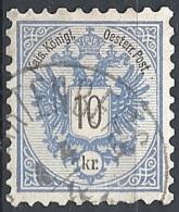Austria, 1883 Aquila Con Cifra, 10k Azzurro, D.9½ #  Michel 47 - Scott 44 - Unificato 43 USATO - 1850-1918 Impero