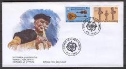 FDC H08 Cyprus 1985 2v Music Instruments - Covers & Documents