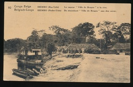 BELGISCH CONGO - IBEMBO - DE STOOMBOOT ,, VILLE DE BRUGES AAN DEN OEVER - 2 SCANS - Autres