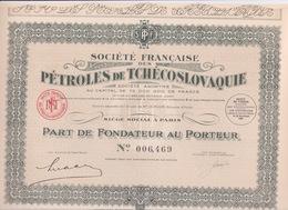 TRES BELLE ACTION -SOCIÉTÉ FRANÇAISE DES PETROLES DE TCHÉCOSLOVAQUIE - S P. T F - Pétrole