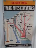 AFFICHE: Saison 1965 ,trains-autos-couchettes ,S N C F  , H 99,2  L 61,7 - Affiches
