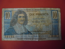 Billet Saint-Pierre-et-Miquelon, 10 Francs, Undated (1950-1960), B, KM:23 - COLBERT - France