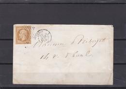 N° 13 A SUR LSC   27 JUIN 1859  + CACHET DE ROUTE 1328   PARIS 1 + ETOILE   - LOT 32 IND 9  COTE 55€ + VARIETE - 1849-1876: Période Classique
