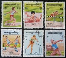 LOTE DE SEIS SELLOS DE KAMPUCHEA. TEMA JUEGOS OLIMPICOS DE LOS ANGELES 1984 - Kampuchea