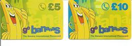 """2 Télécartes Prépayées Du ROYAUME UNI """" GO BANANAS 5 Et 10 £ """" - Royaume-Uni"""