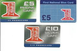 """3 Télécartes Prépayées Du ROYAUME UNI """" FIRST NATIONAL 5 Et 10 £ """" - Royaume-Uni"""