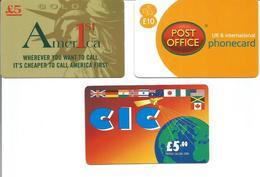 """3 Télécartes Prépayées Du ROYAUME UNI """" CIC, AMERICA FIRST Et POST OFFICE """" - Royaume-Uni"""
