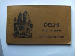 India Delhi Book With 20 Picture Post Cards Old And New - India