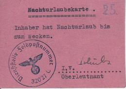 Deutsche Wehrmacht - Nachturlaubskarte - Feldpostnummer 32027 - Schwere Artillerie-Abteilung 737 - 2. WK (29389) - Documents
