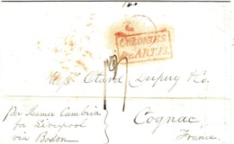 4 Sept.1847- Lettre De New York  Par Le Cambria  + COLONIES / & C . ART. 13 Encadré - Meilleure DATE CONNUE - Poste Maritime