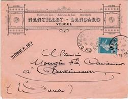 Enveloppe Commerciale 1923 / Papiers En Gros Imprimerie / NANTILLET LANSARD / 70 Vesoul - Maps