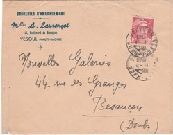 Enveloppe Commerciale 1948 / Broderies Ameublement / Mlle A. LAURENCOT / 70 Vesoul - Maps