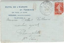 Carte Lettre 1913 / Hôtel De L'Europe Et Terminus / En Face De La Gare / 70 Vesoul - Maps