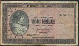 °°° CZECHOSLOVAKIA 1000 KORUN 1945 °°° - Cecoslovacchia