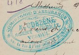 Carte Commerciale 1896 / Entier / Cie Assurances A. ODEZENE / 70 Vesoul - Maps