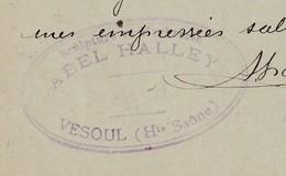 Carte Commerciale 1897 / Entier / HALLEY / Marbrerie Sculpture / 70 Vesoul - Maps