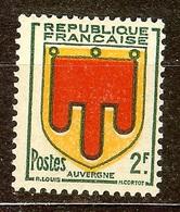 SUPERBE BLASON YT N°837 AUVERGNE NEUF Avec GOMME** VARIETE - 1941-66 Armoiries Et Blasons