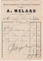 Petite Facture 1909 / A. MELARD / Charcuterie Avenue De La Gare / 70 Vesoul - Maps