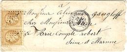 1864- Enveloppe De MARLENHEIM ( Bas Rhin ) Cad T22 Affr. Paire N°21 Oblit. G C 4487 - 1849-1876: Période Classique