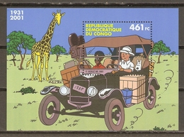 Congo RDC 2001 - Tintin Au Congo - Bloc MNH - Couverture Album Tintin Au Congo - Milou - BD - République Démocratique Du Congo (1997 -...)
