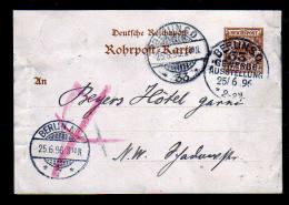 25 Pf. Rohrpost Ganzsache Gebraucht Von Der Gewerbeausstellung Berlin 1896 - SELTEN - Allemagne