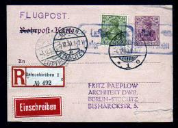50 Pf. Rohrpost Ganzsache Als Einschreiben-Flugpost 1920 Ab Gelsenkirchen Nach Berlin - Allemagne