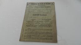 Ville De Saint - Quentin   Distribution De Pain  Carte De Rations - Vieux Papiers