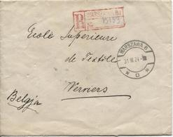 Poland-Polska Warsaw-Warszawa Registered Cover 1924 To Belgium 2207 - 1919-1939 Republic