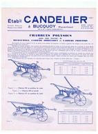 Etabs  CANTELIER  à BUCQUOY (PAS DE CALAIS ) CHARRUES POLYSOCS  DECHAUSSEURS SIMPLES Et ROULEAUX - Advertising