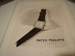 ANCIENNE PUBLICITE  MONTRE PATEK PHILPPE 1952 - Bijoux & Horlogerie