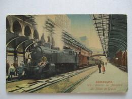 CPA Tarjeta Spain V1910 CP BARCELONE Barcelona Cataluna GARE TRAIN Intérior Del Apeadero Del Paseo De Gracia Espagne TBE - Gares - Avec Trains