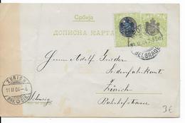 SERBIE - 1904 - CARTE ENTIER POSTAL De BELGRADE => ZÜRICH (SUISSE) - Serbie