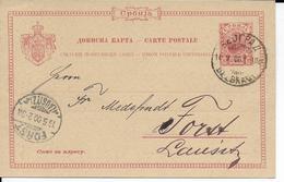 SERBIE - 1900 - CARTE ENTIER POSTALavec REPIQUAGE AU DOS De BELGRADE => FORST (ALLEMAGNE) - Serbie