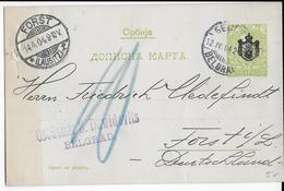SERBIE - 1904 - CARTE ENTIER POSTAL De BELGRADE => FORST (ALLEMAGNE) - Serbie