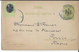 SERBIE - 1905 - CARTE-LETTRE ENTIER POSTAL De BELGRADE => PARIS - Serbie
