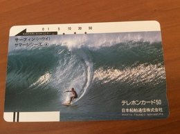Front Coded Card -  Barcode Card Japan / Nippon -  Surfer On Wave   Year 1985-1987 - Fine Used - Japan