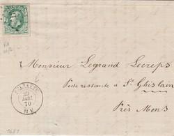 LAC T.30 Ldp 331 Dc SELZAETE 29 Dec 1870 V. Poste Restante Dc St Ghislain (mois à L'envers) - 1869-1883 Léopold II