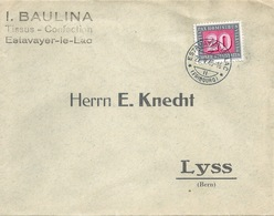 "Motiv Brief  ""Baulina, Tissus Confection, Estavayer Le Lac""            1945 - Switzerland"