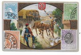 SERBIE (ROYAUME) - LITHO Des BISCUITS GERMAIN à LYON Sur La POSTE EN SERBIE - Serbie