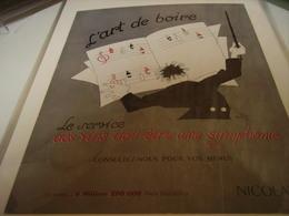 ANCIENNE PUBLICITE  VIN NICOLAS L ART DE BOIRE   1953 - Alcoholes