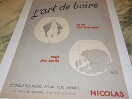 ANCIENNE PUBLICITE VIN LE NICOLAS L ART DE BOIRE 1954 - Alcoholes
