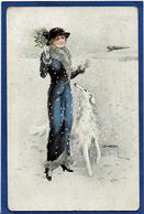 CPA Lévrier Chien Dog Femme Girl Women Mode Chapeau Circulé USABAL - Chiens