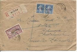 Algérie TP Français Surchargés Algérie S/L.Recommandée C.Biskra 1924 V.Nouvelle Zélande 2210 - Algérie (1924-1962)