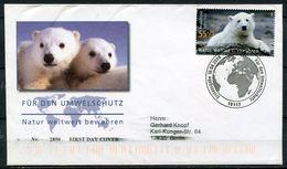 """First Day Cover Germany 2008 Michel Nr.2656""""Umweltschutz,Natur-Eisbär Knut""""mit ESST Berlin """"1 FDC - Umweltschutz Und Klima"""