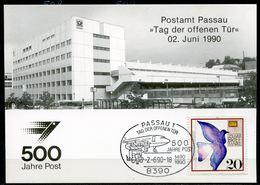 """Germany 1990 Sonderkarte 500 Jahre Post.Mi.Nr.1388 U.SST""""Passau 1-500 Jahre Post,Tag Der Offnen Tür""""1 Karte - Post"""
