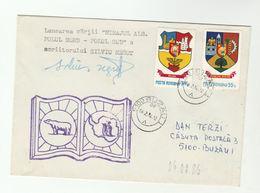 SIGNED -  POLAR PHILATELY EVENT COVER 1982 ROMANIA Stamps Arctic Antarctic Penguin Bird Polar Bear Heraldic - Other