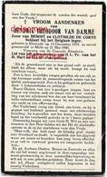 OORLOG GUERRE Hendrik Van Damme Elversele SOLDAAT Gesneuveld Te Melle 21 Mei 1940 Bidprentje Doodsprentje - Devotieprenten