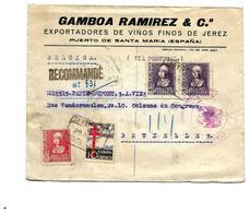 Lettre RECOMMANDEE De PUERTO DE SANTA MARIA 1939 Avec VIGNETTES - Censure - V. BRUXELLES.Au Dos LISBOA.  TB - Marques De Censures Nationalistes